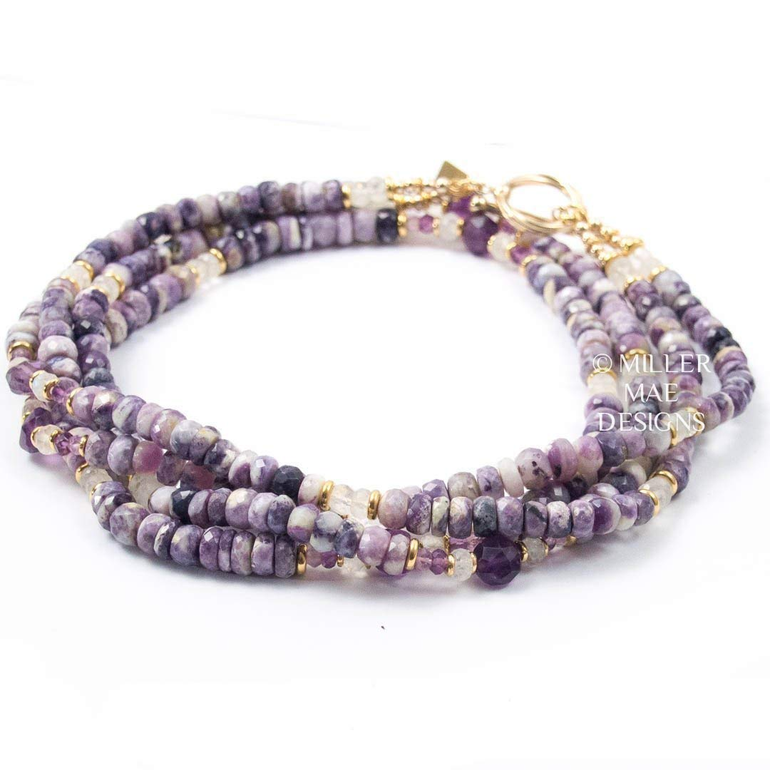 5b75150599889e Amazon.com: Tiffany Stone Double Strand Necklace with Amethyst and  Moonstone Statement Necklace - 28 Inches Long Handmade Beaded Necklace by  Miller Mae ...