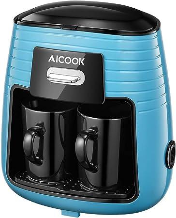 Aicook Cafetera de Goteo, Mini Cafetera Portátil con Diseño Compacto, Cafetera de Filtro con Tecnologia de Preparación Rápida, Equipado con 2 Tazas de Cerámica, Azul: Amazon.es: Hogar