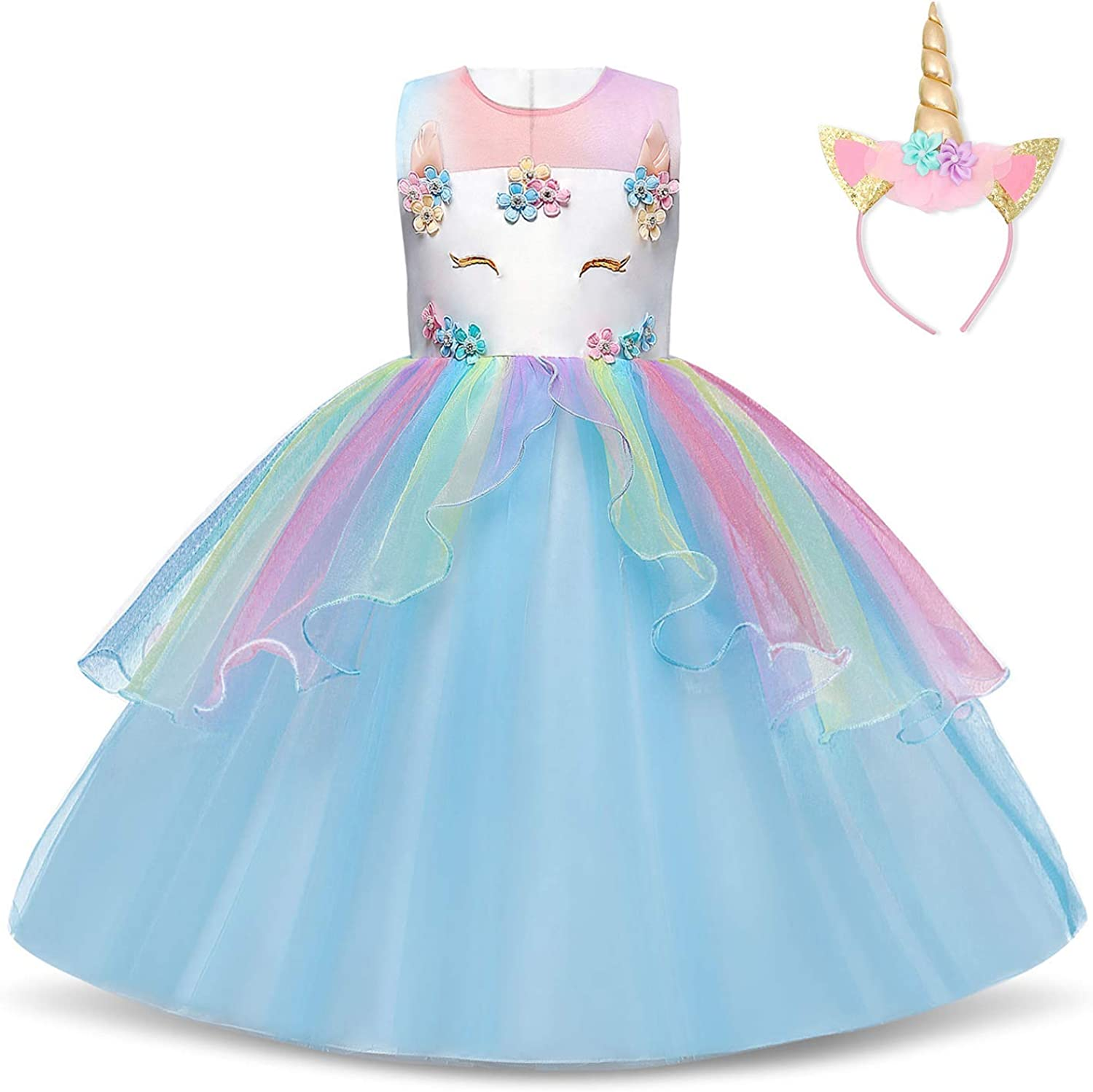 TTYAOVO Unicorn Dress for Girls Kids Teens Fancy Party Costume 2-14 Years