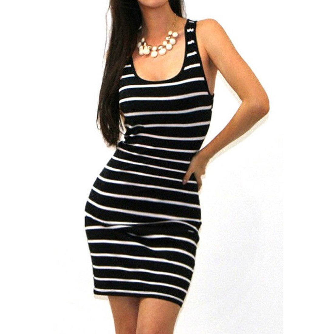 0c7d6ab8e750 Women\'s Sexy O-Neck Sleeveless Striped Print Slim Mini Dress, perfect for  cool summer. Fit Occasion: Casual/Beach/Party NOTICE: Customer feedback Our  size ...