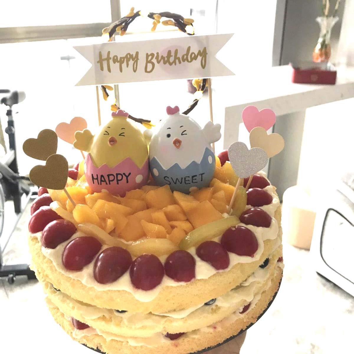 LED Fruits Wreath Cake Insert Card Birthday Party Dessert Cake Decoration Tools