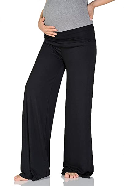 Beachcoco Women's Maternity Wide/Straight Comfortable Pants (L (Straight), Black)
