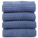 Luxury Hotel & Spa 100% Genuine Turkish Cotton Bath Towel Set Striped, Wedgewood, Set of 4