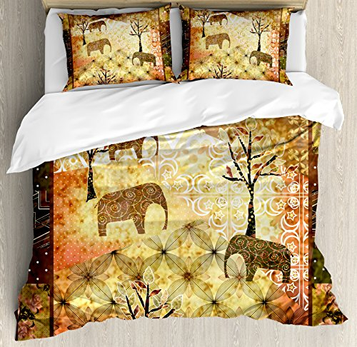 (Ambesonne African Duvet Cover Set, Patchwork Inspired Pattern Grunge Vintage Featured Elephants Trees Roses Print, Decorative 3 Piece Bedding Set with 2 Pillow Shams, Queen Size, Yellow Brown)
