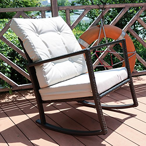 Yardeen Rocking Rattan Chair Outdoor Patio Yard Furniture Wicker Chair with Cushion (Cushions Rocking Chair Wicker)