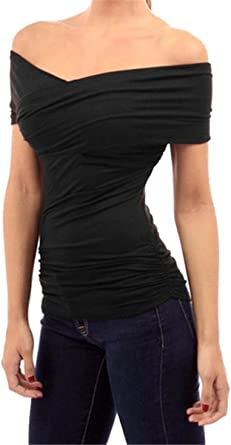 Fanessy Camiseta Mujer Hombros Descubiertos Blusa Cuello Barco Casual Elegante Oficina Mangas Cortas: Amazon.es: Ropa y accesorios
