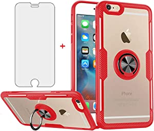 Phone Case for iPhone 6 6s with Tempered Glass Screen Protector Clear Cover and Stand Ring Holder Slim Cell Hard iPhone6 Six i6 S iPhone6s iPhine6s iPhones6s i Phone6s Phone6 6a S6 Cases Men Red