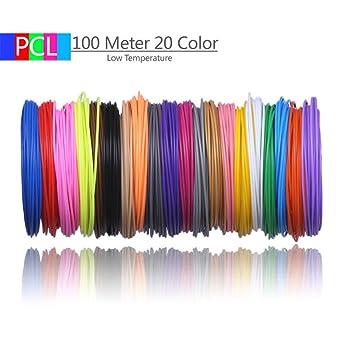 Filamento de impresión 3D, nuevo 50M 10 colores 100 metros 20 ...