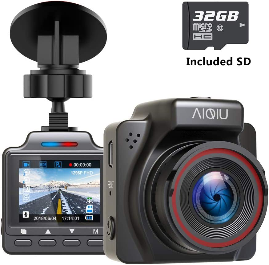 AIQiu AM000C1 Dash Cam Black Sensor 1296P FHD Car Driving Recorder 1.5 Mini Night Vision Vehicle Dashboard Camera with G