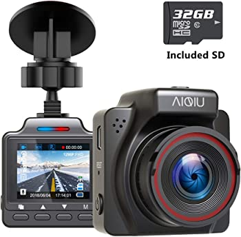 AIQiu Dash Cam with 32GB SD Card 1296P FHD Mini Car Driving Recorder