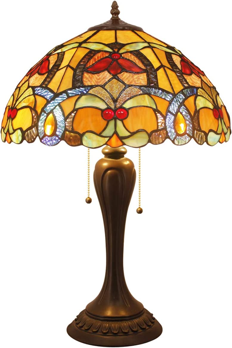 Tiffany Style Table Lamp Desk Beside Lamps 24 Inch Tall Orange Stained Glass Shade Crystal Bead Liaison 2 Light Antique Zinc Base Decorate Coffee Table Living Room Bedroom S617 WERFACTORY