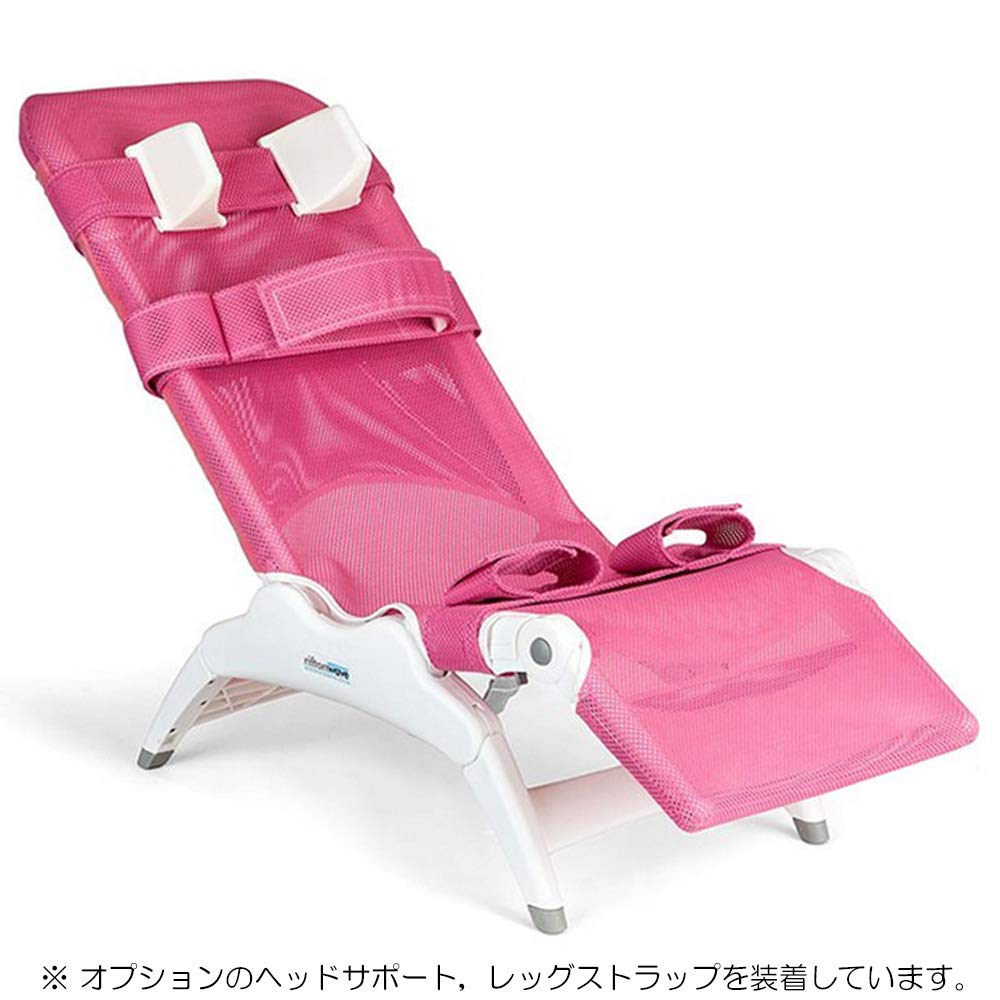 洗身チェア リフトンウェーブ Mサイズ ピンク(脚載せチェストストラップ付) B06XSXZ22G