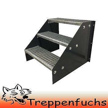 Freistehende Standtreppe Stahltreppe 3 Stufen//Breite 80cm H/öhe 63cm Verzinkt//Stabile Industrietreppe f/ür den Au/ßenbereich