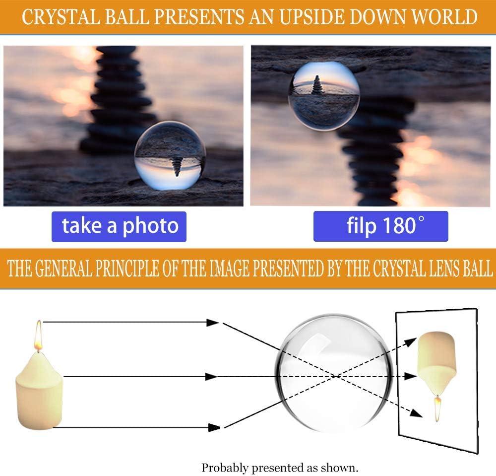 Cristallo K9 di alta qualit/à. Diametro 10,9 cm MerryNine Lensball Sfera di cristallo K9 con supporto per fotografia K9 trasparente//110 mm. 110mm//4.33