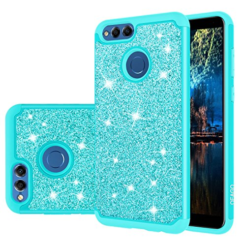 Honor 7X Case, Huawei Mate SE Case, OEAGO Glitter Sparkly Bling Cute Girls Women Case, OEAGO Shockproof Dual Layer Hybrid Heavy Duty Protective Phone Case for Huawei Honor 7X / Mate SE - Mint Teal ()