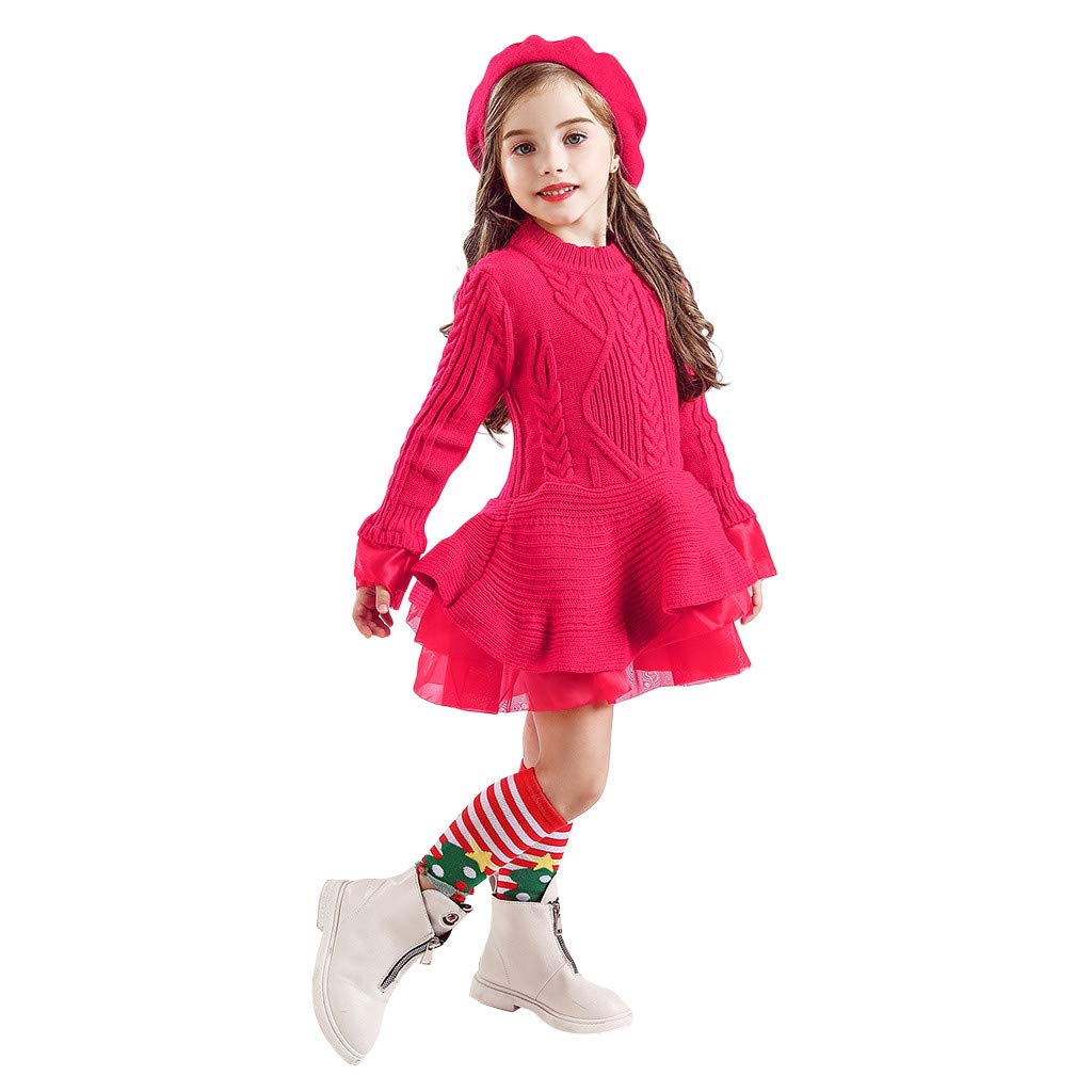 Sameno Kids Girls Tulle Christmas Princess Sweater Dress Lace Tutu Knitted Crochet Winter Fall Party Wedding Outfit 1-8T Hot Pink by SamXmasBaby
