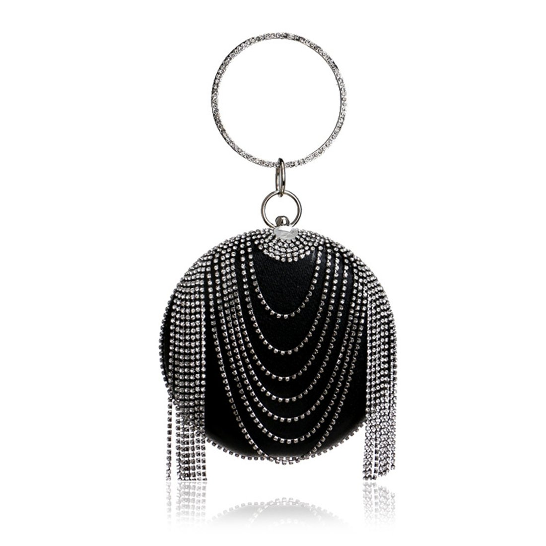 Color : Black LBY European and American Foreign Trade Tassel Handbag Ladies Dress Rhinestone Evening Bag Evening Package