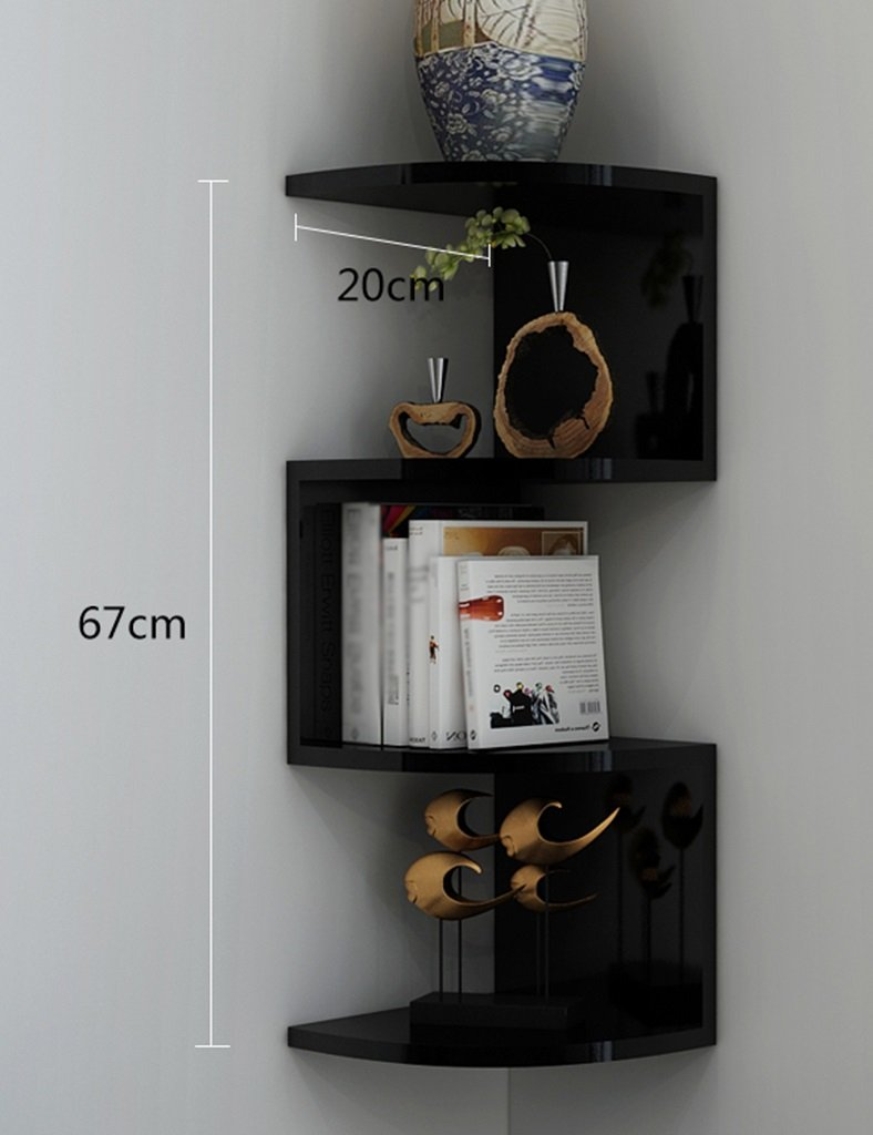 4層書棚曲面壁浮き三角コーナー棚仕切りCD DVD収納ユニット棚表示棚棚色オプション B07RNNZ3NG
