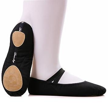 WINWIN Women's Girls Ballet Shoes Soft Canvas Dance Gymnastic Shoes Split  Sole Children's & Adults Sizes