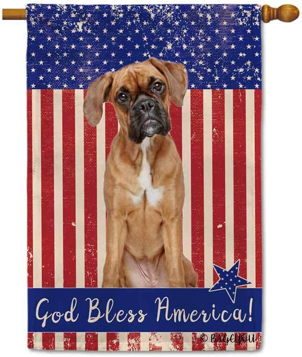 BAGEYOU God Bless American with My Love Dog Boxer Patriotic Decorative House Flag for Outside 4Th of July Decor Banner 28x40 inch Printed Double Sided