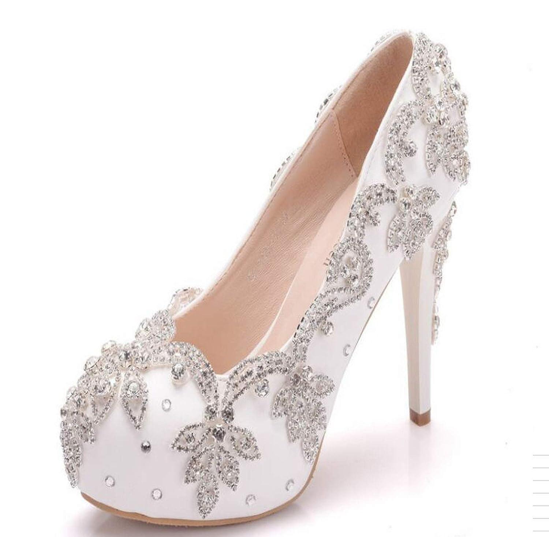 White colorful Dream- Sexy 14Cm Super High Heel Single Stiletto High Heels Temperament Elegant Rhinestone Wedding shoes