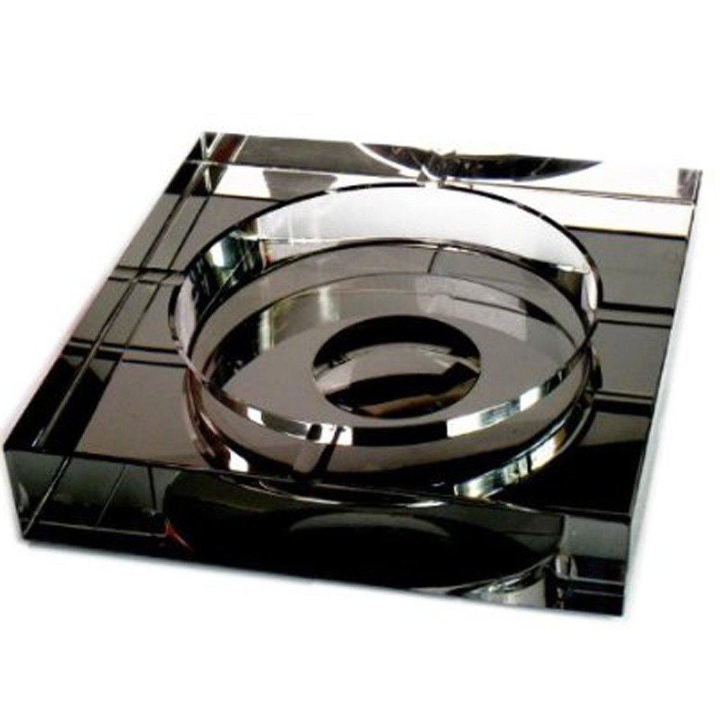 OSONA スクエア 高級 卓上灰皿 Ashtray 灰皿 おしゃれ アッシュトレイ オシャレ 屋外 置物 インテリア クリスタル ガラス ブラック 25cm B01HCZ7XG4 25cm|ブラック ブラック 25cm