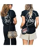 Best Friends T Shirt Damen mit Aufdruck Schwarz Grunge Elegant Cool Tops Kurzarm Bluse