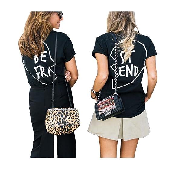 Best Friends Camisetas Mujer Manga Corta Tumblr Verano Casual Moda Poleras Ropa (Blanco B,