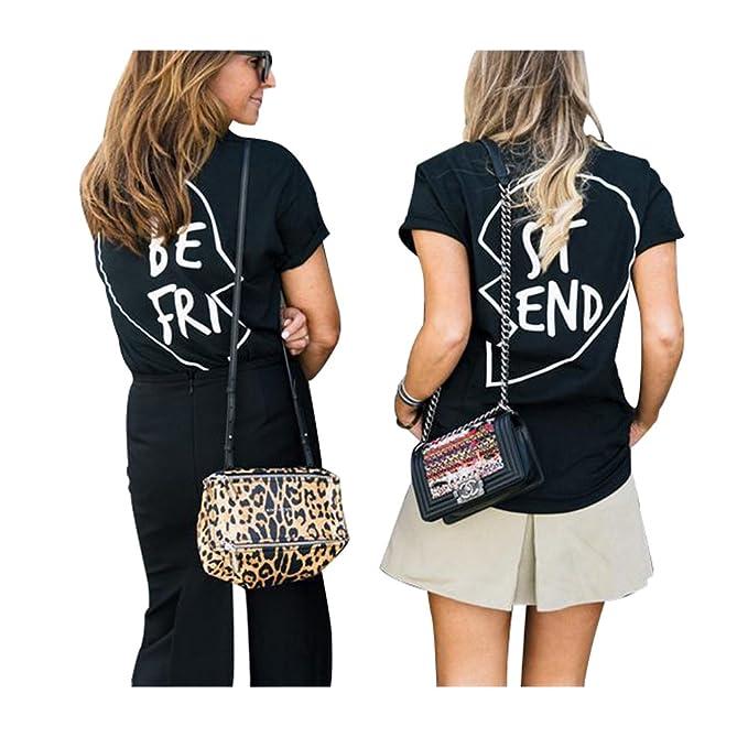 Best Friends Camisetas Mujer Mejor Amiga Tumblr Verano Camiseta Manga Corta (Negro BE, M