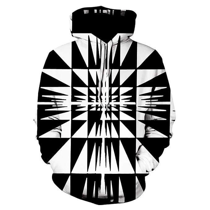 Internet-Sudadera con Capucha con Estampado vórtice Digital 3D para Hombre(Negro M-