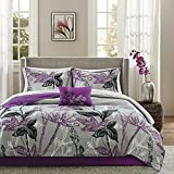 8 Piece Cal King, Bouquet Style Modern Geometric Floral Pattern Coverlet Set, Casual French Country Printed Textured Design, Antique Garden Look Themed, Gorgeous Bedding, Adorable Purple, Black Color