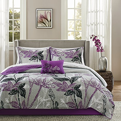 8 Piece Cal King, Bouquet Style Modern Geometric Floral Pattern Coverlet Set, Casual French Country Printed Textured Design, Antique Garden Look Themed, Gorgeous Bedding, Adorable Purple, Black Color by AF ULTRA