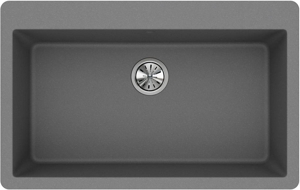 Elkay Quartz Classic ELGR13322GS0 Greystone Single Bowl Top Mount Sink