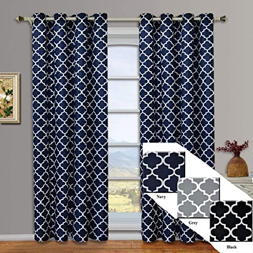Meridian Navy Grommet Room Darkening Window Curtain Panels, Pair / Set of 2 Panels, 52x84 inches Each, by Royal Hotel