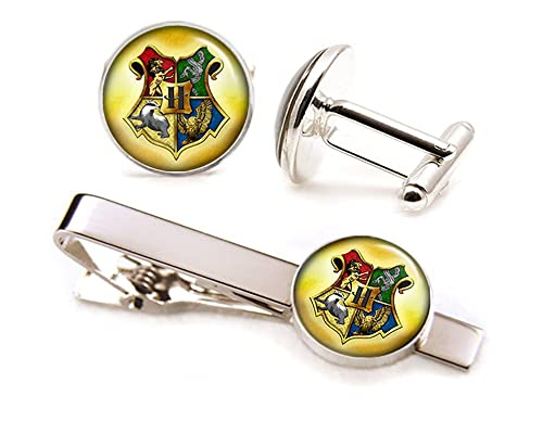 78628d2704a6 Amazon.com: Harry Potter Tie Clip, Deathly Hollows Cufflinks, Hogwarts  Jewelry, nine and three quarters Cuff Links, Harry Potter Wedding Gifts:  Jewelry