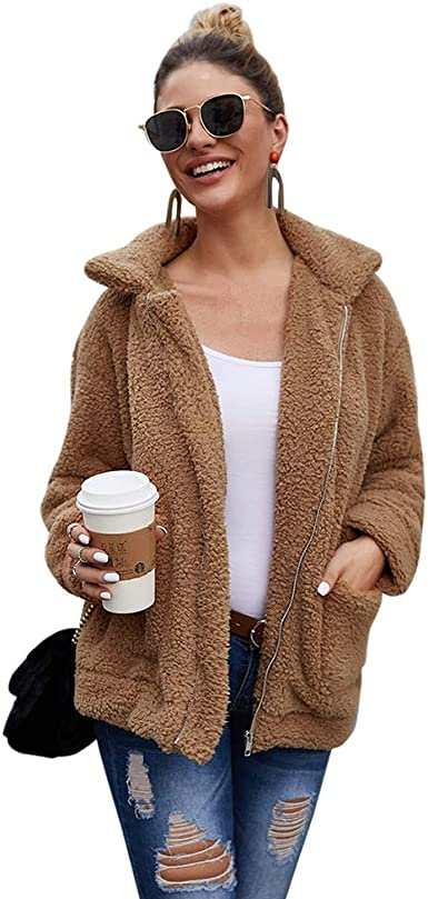 Image result for Women's Coat Casual Lapel Fleece Fuzzy Faux Shearling Zipper Coats Warm Winter Oversized Outerwear Jackets