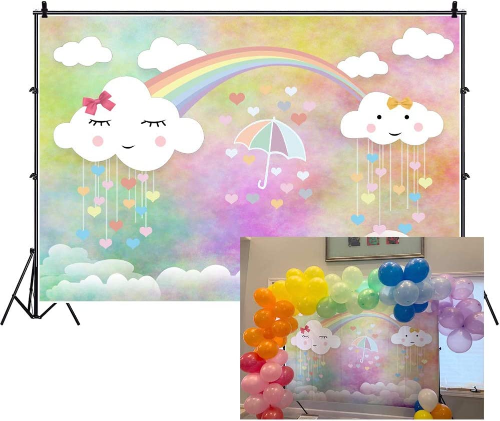LFEEY 7x5ft Sweet Cute Clouds Rainbow Backdrop for Photography Cartoon Little Umbrella Raindrop Girl Baby Shower Photo Shoot Birthday Party Background Decoration Photo Studio Prop