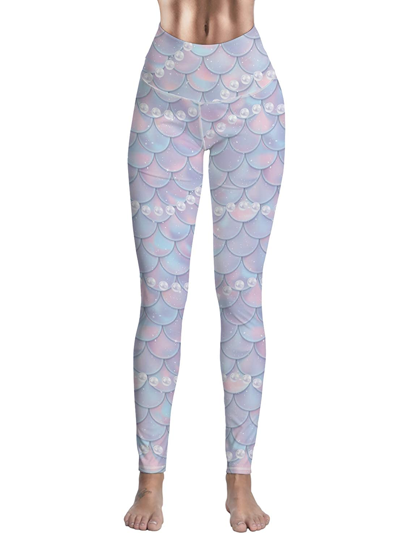 a9a4cc24fe8c3 Amazon.com: Women's High Waist Sports Wear Custom Mermaid Pearls Printed Yoga  Leggings Runnings Workout Pants: Clothing