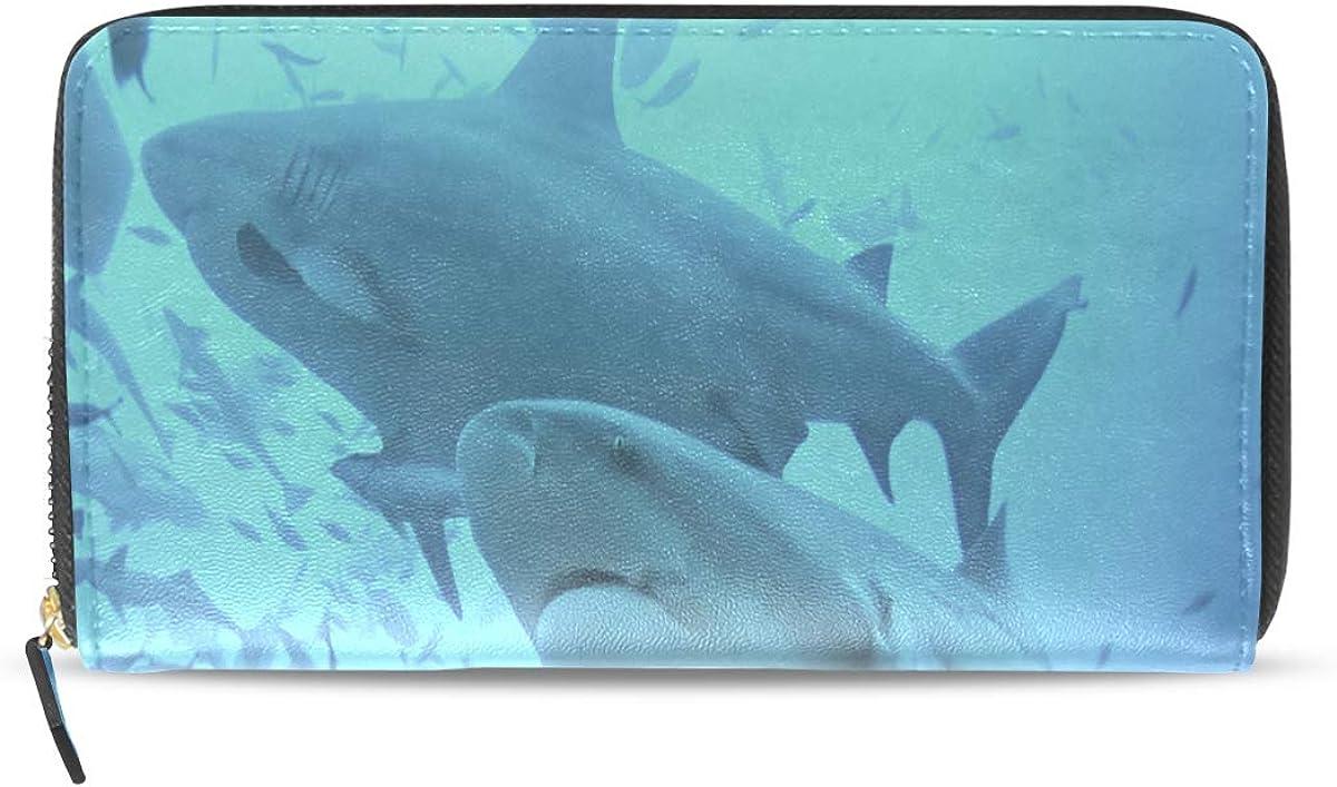 Fierce Awful Shark Long Passport Clutch Purses Zipper Wallet Case Handbag Money Organizer Bag Credit Card Holder For Lady Women Girl Men Travel Gift
