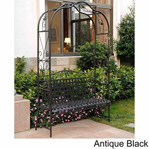 MANDALAY IRON PATIO ARBOR BENCH in ANTIQUE BLACK - PATIO - Arbor Bench Garden