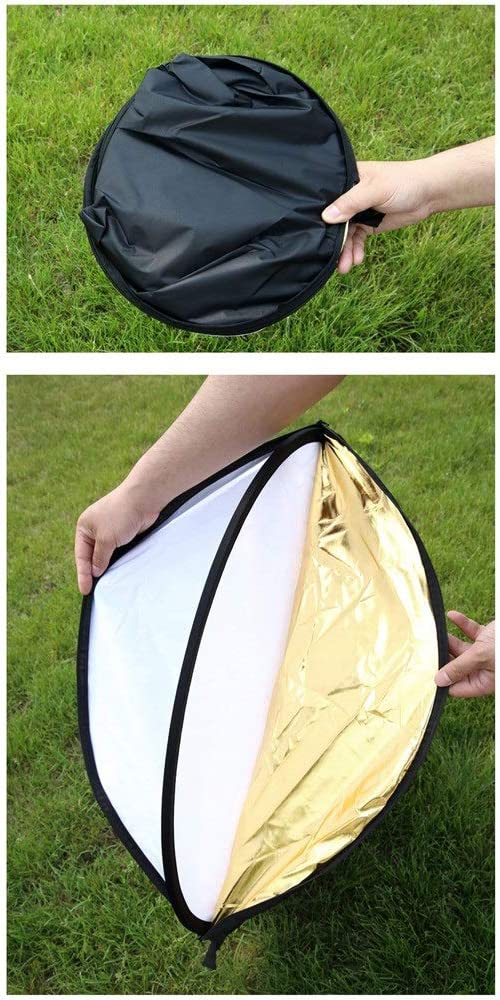 Light Reflector 5 In 1 Translucent Round Multi Disc Light Reflector With Black 43-Inch 110CM Portable Foldable Reflector Carry Bag For Outdoor Portrait Video Recording for Studio or any Photography Si