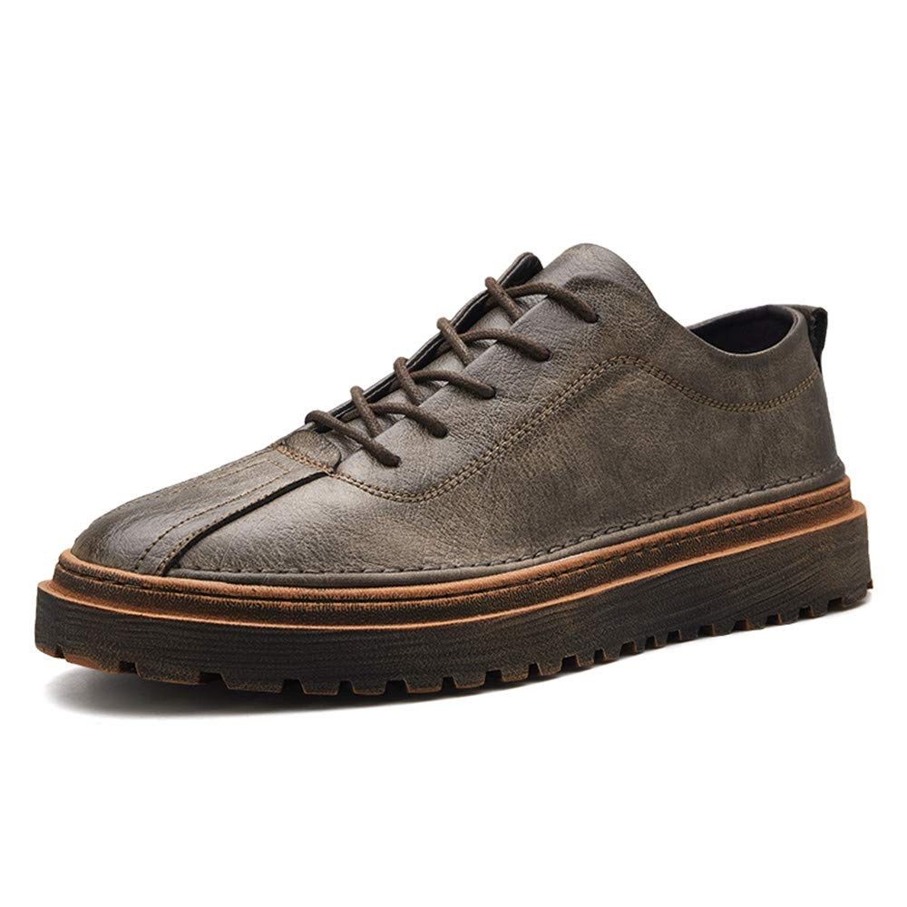 Fashion New Men's Business Oxford Casual Fashion Autumn Winter New Hand-Made Super Fiber Retro Formal shoes Men's Boots (color   Khaki, Size   7.5 UK)