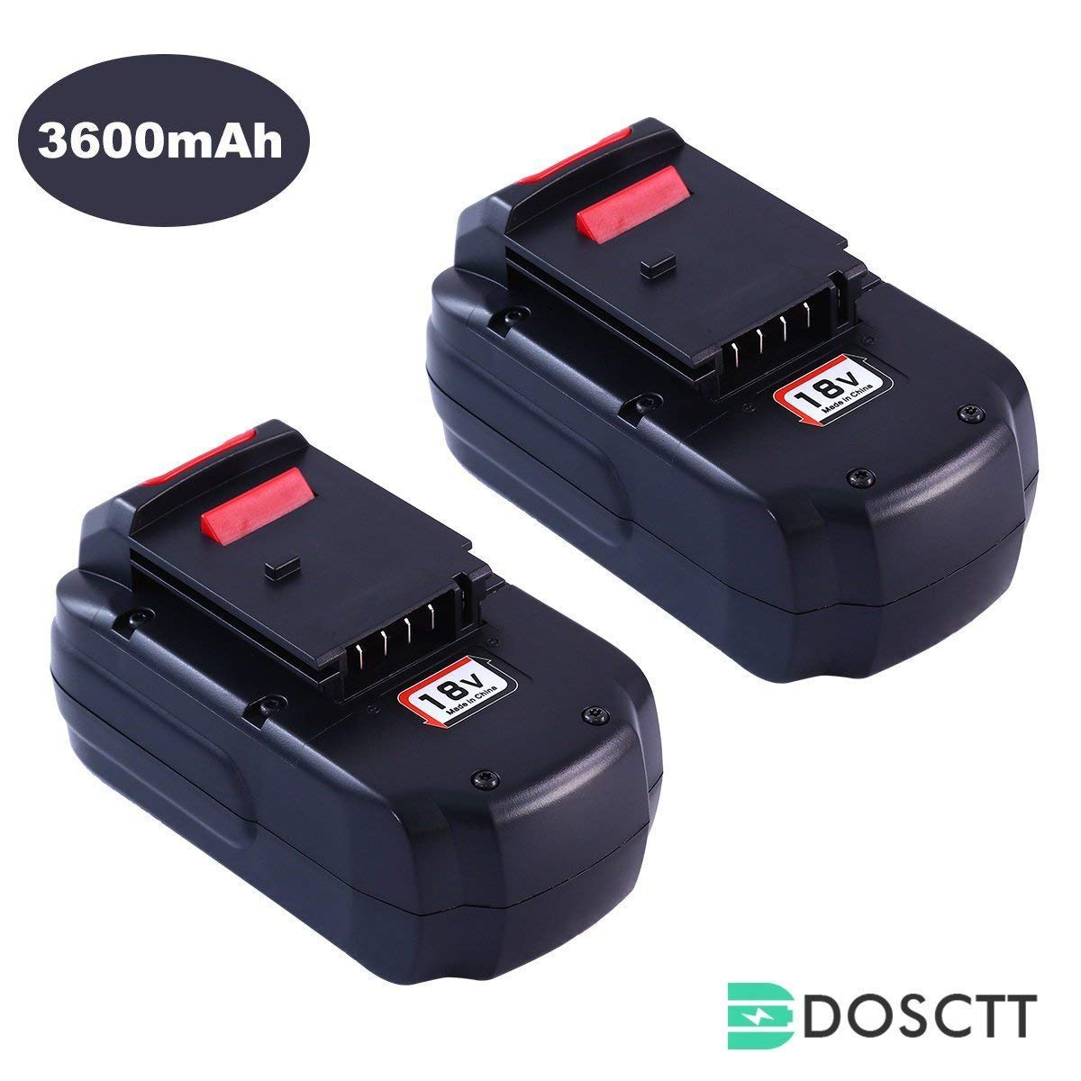 3.6Ah Ni-Mh PC18B Battery for Porter Cable 18V Battery PCC489N PC18B PC18BLEX PCMVC PCXMVC Cordless Tools Drill Batteries 2 Pack