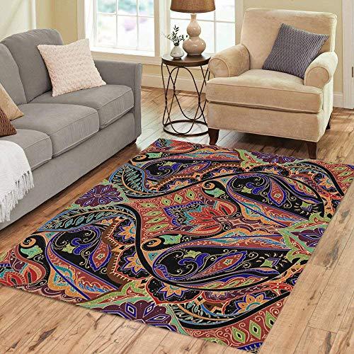 Pinbeam Area Rug Indian India Paisley Pattern Border Bohemian Floral Classic Home Decor Floor Rug 3' x 5' Carpet
