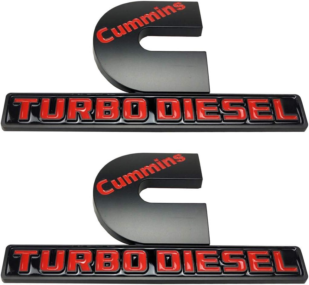 Matte Black 2pack New Cummins Turbo Diesel Emblems,Origianl Size High Output Decal Badges Replacement for 2006-2018 1500 2500 3500 Nameplate Fender Emblem