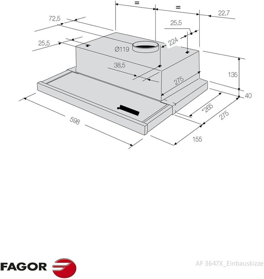 Fagor AF3-647 X - Campana (Canalizado, 400 m³/h, Built-under, Plata, Giratorio, 2 piezas): Amazon.es: Electrónica