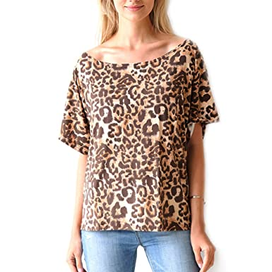 3f0bab414e10 Leopard Print Tops for Women Boat Neck Loose Fit Short Sleeve Shirts Casual  Elegant Womens Blouse at Amazon Women's Clothing store: