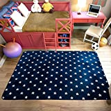 RuiHome Star Printed Design Children Boys Girls Play Rug Soft Baby Crawling Mat for Bedroom Living Room Playroom Nursery Hard Surface - 51'' x 73""