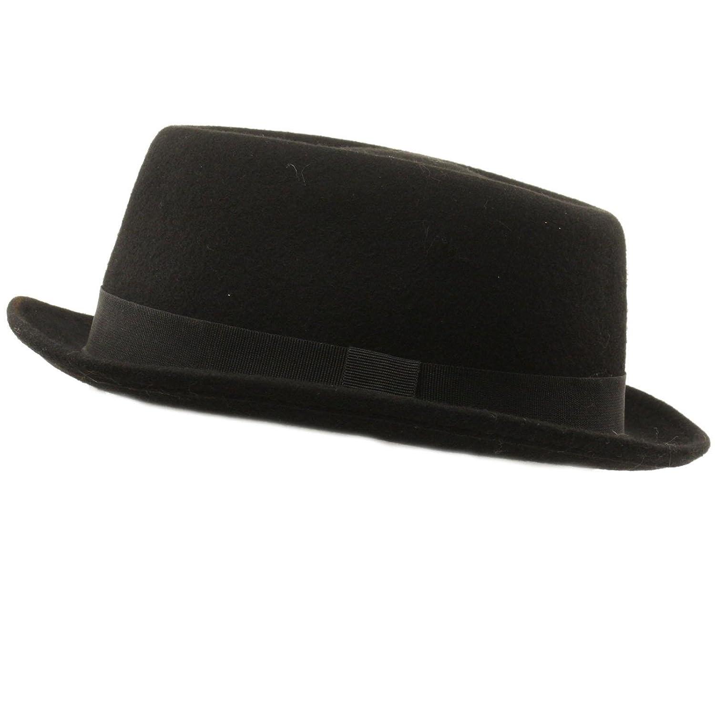 Men Winter 100% Wool Boater Porkpie Derby Ribbon Band Fedora Hat Black S M  56cm at Amazon Men s Clothing store  d11ecc67d1d