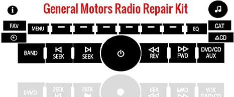 Black Radio Button Repair Decal Sticker Kit Dash 2007-2014 For Chevy GM Buick